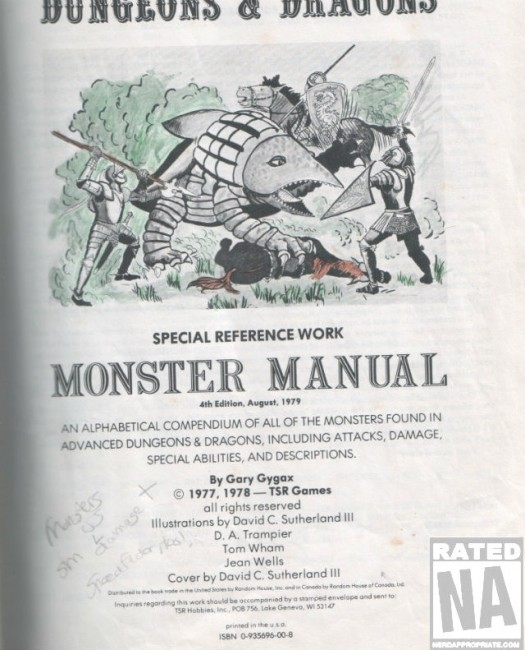 This is a page from my actual Monster Manual - I was much better at coloring back then...